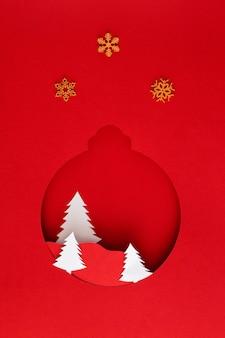 Árvores e estrelas de bolas de natal de papel