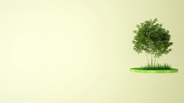 Árvores no prado na ilha