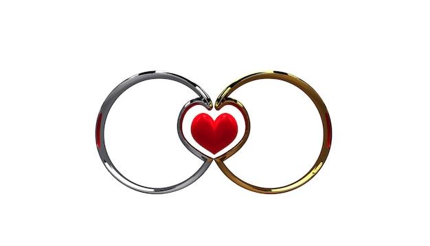 As alianças de casamento deram forma a um coração no meio no close up branco do fundo.