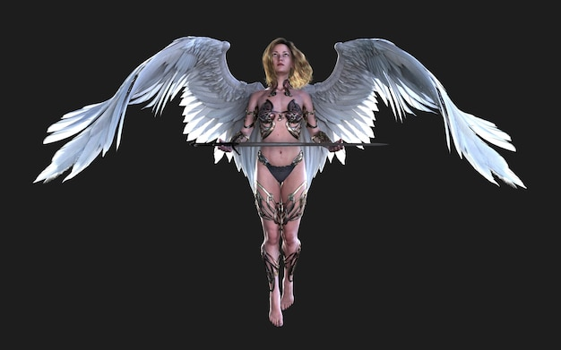 As asas de anjo do céu, plumagem de asa branca isolada no fundo preto com traçado de recorte.