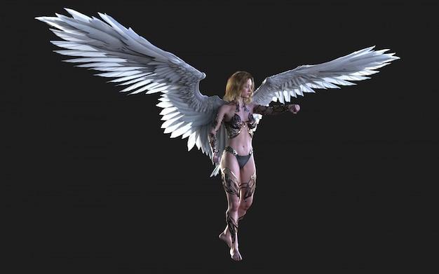 As asas do anjo do céu, plumagem branca da asa com trajeto de grampeamento.