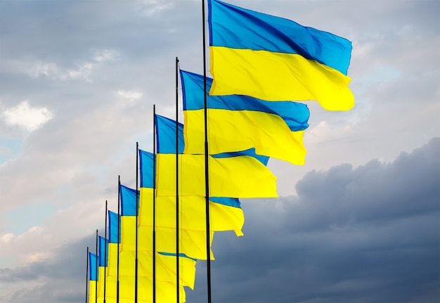 As bandeiras nacionais amarelas e azuis da ucrânia sobre o céu e as nuvens