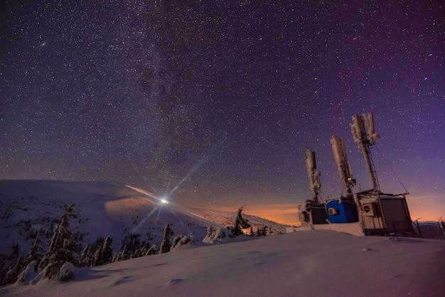 As bases científicas de pesquisa estão localizadas nas encostas das montanhas em uma noite estrelada sem nuvens. o conceito de lugares distantes e inacessíveis para estudar a natureza