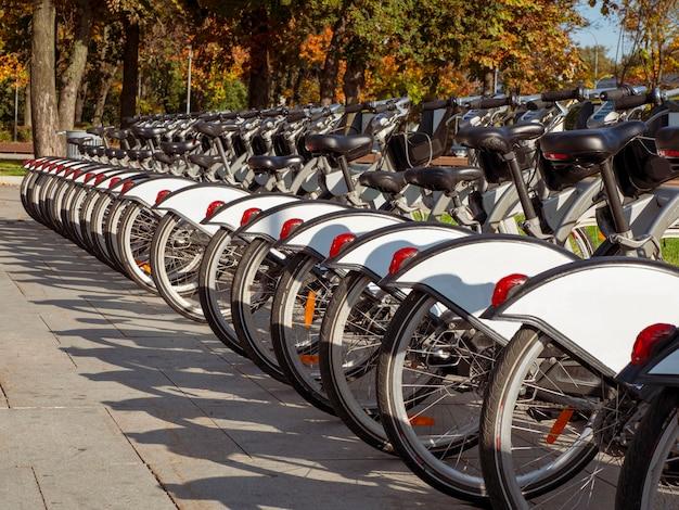 As bicicletas da cidade são estacionadas em uma linha no outono.