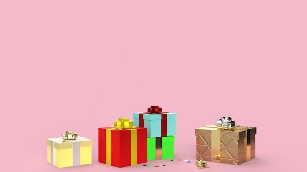 As caixas de presente na imagem cor-de-rosa da rendição do fundo 3d para o conteúdo da celebração.