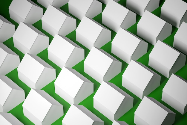 As casas de um andar brancas idênticas da ilustração 3d pequenas idênticas estão mesmo nas fileiras na grama verde.