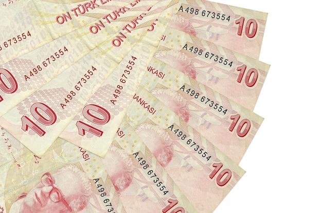 As contas de liras turcas encontram-se isoladas no fundo branco