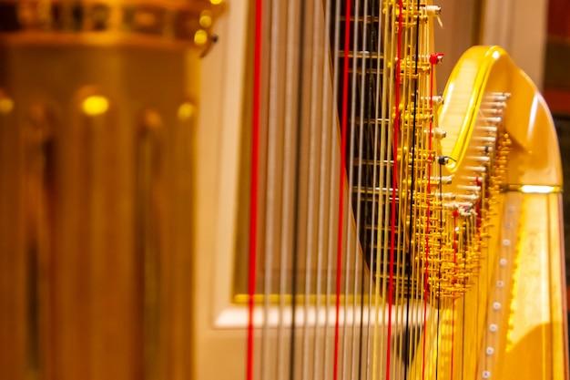 As cordas douradas bonitas da harpa fecham-se acima. instrumentos musicais da orquestra na filarmonia.
