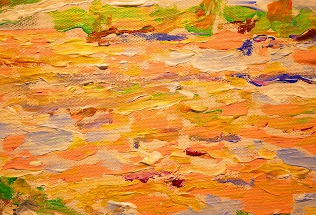 As cores brilhantes lubrificam a textura da pintura com fundo da arte abstracta dos cursos da escova.
