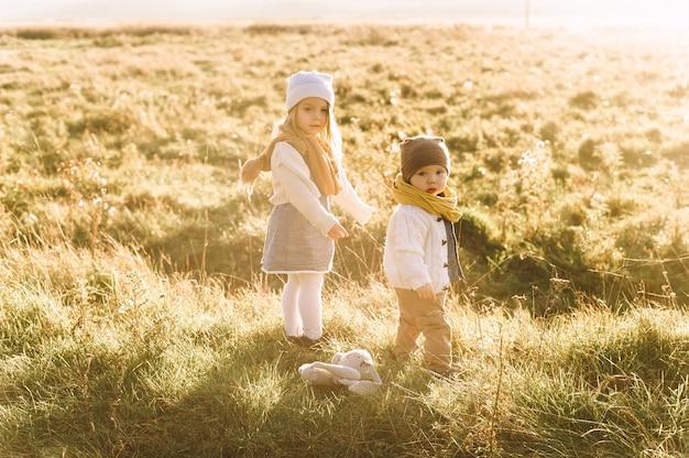 As crianças estão andando no campo de sol