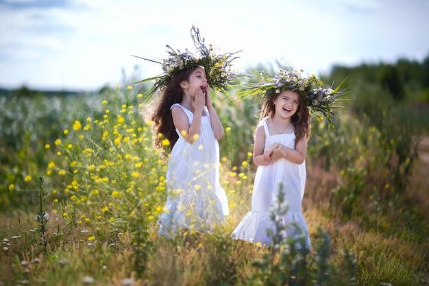 As crianças estão se divertindo no campo
