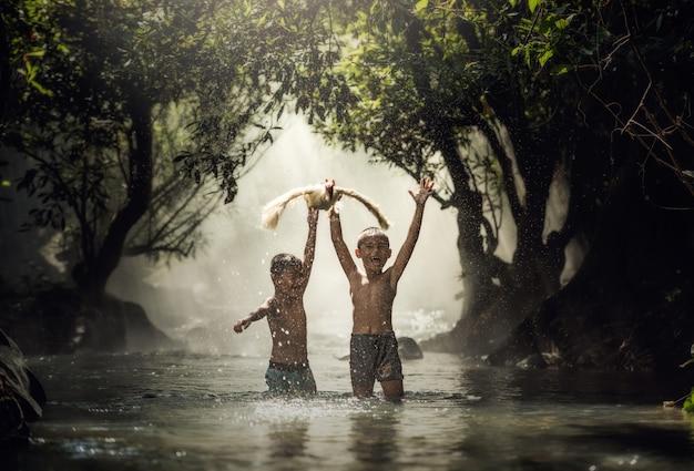 As crianças pegam pato nos riachos, tailândia