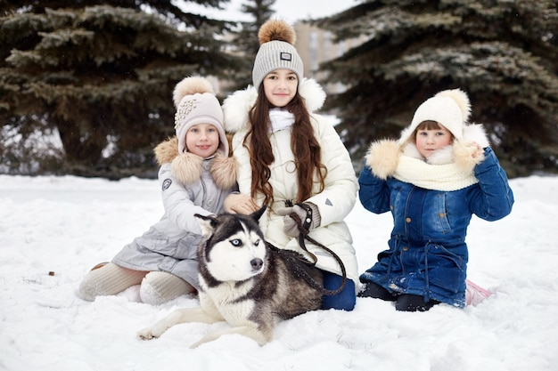As crianças saem e brincam com o cão husky no inverno. as crianças sentam-se na neve e acariciam o cão husky. passeio no parque no inverno, alegria e diversão, cachorro husky de olhos azuis. rússia, sverdlovsk, 28 de dezembro de 2017