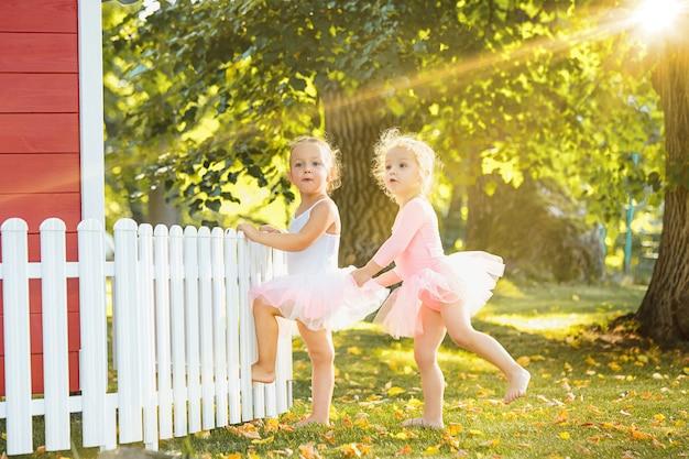 As duas meninas no parquinho contra o parque ou a floresta verde