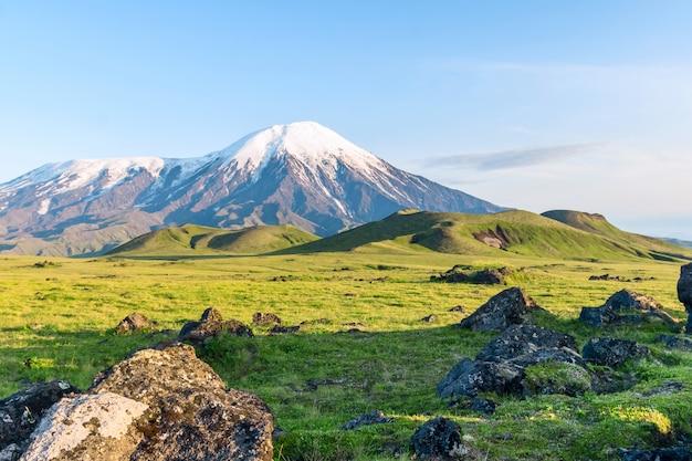 As encostas do vulcão tolbachik, kamchatka, rússia