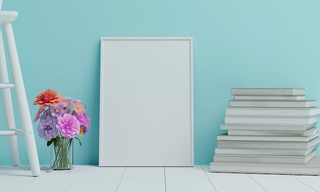 As flores são colocadas em um vaso, colocado em uma cadeira de madeira branca com uma grande moldura branca colocada na sala azul. 3d rendem.
