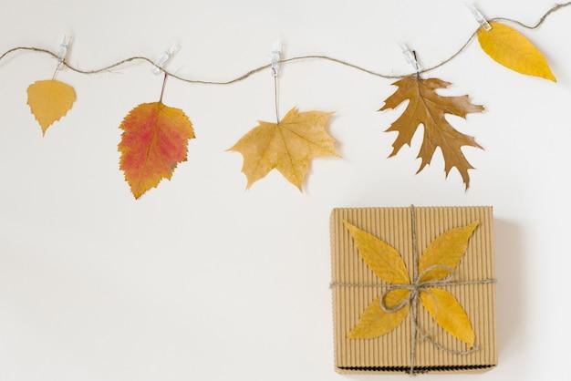 As folhas caídas do outono penduram em uma corda com prendedores de roupa sobre um fundo bege claro e uma caixa de artesanato com um laço de barbante.
