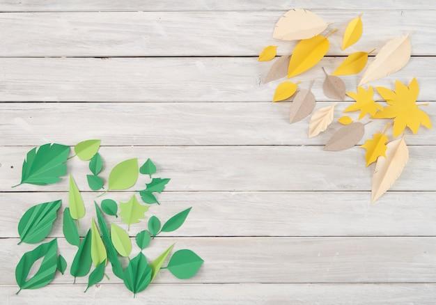 As folhas são feitas de papel colorido. papel cortado na moda estilo de artesanato. design moderno para adve