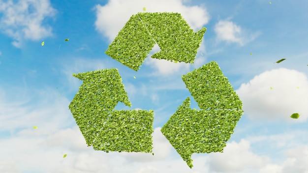 As folhas verdes formam o símbolo de reciclagem em um dia de céu azul nublado, reutilizam o conceito de produto reciclável ecológico, a renderização 3d é um negócio de economia sustentável para reduzir o desperdício e salvar a natureza