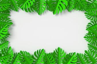 As folhas verdes são emolduradas em fundo branco, renderização em 3d