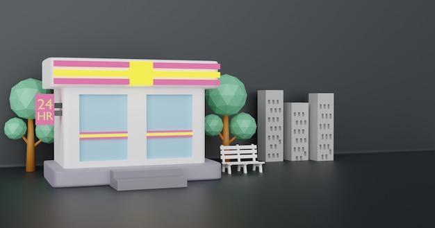 As lojas de conveniência abrem 24 horas durante o período noturno. renderização em 3 d.
