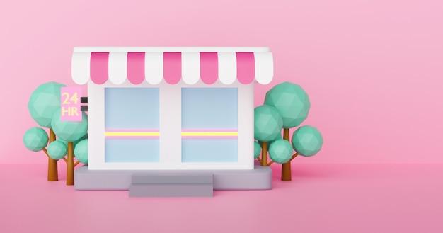 As lojas de conveniência abrem 24 horas no período noturno. renderização em 3 d.