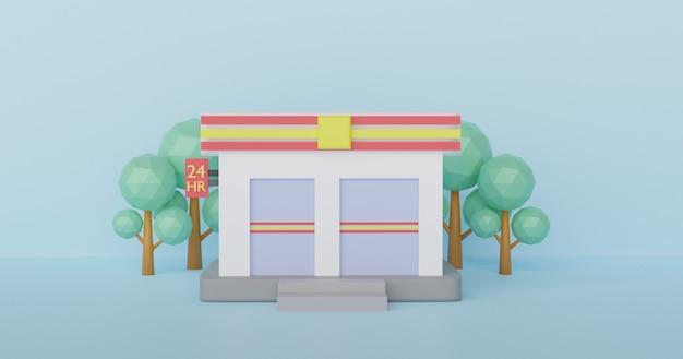 As lojas de conveniência abrem 24 horas. renderização em 3 d.