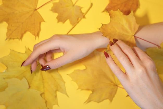 As mãos das mulheres bonitas no fundo amarelo de papel, conceito do cuidado das mãos do outono.