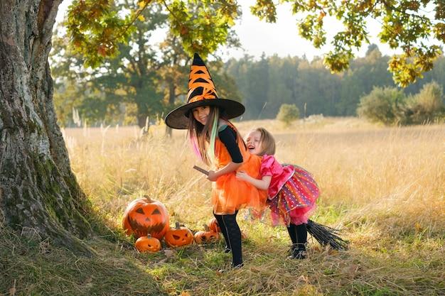 As meninas estão rindo alegremente sentadas em uma vassoura sob um tronco de carvalho ao pôr do sol no halloween