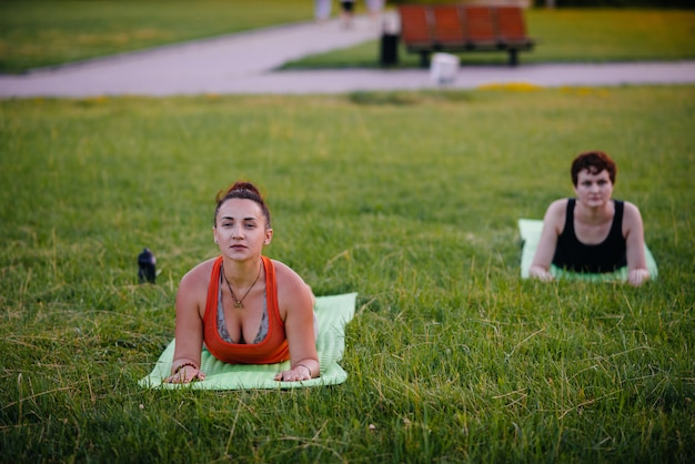 As meninas fazem ioga ao ar livre no parque durante o pôr do sol. estilo de vida saudável.