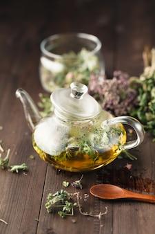 As mesmas ervas secas prontas para quebrar na chaleira para chá medicinal