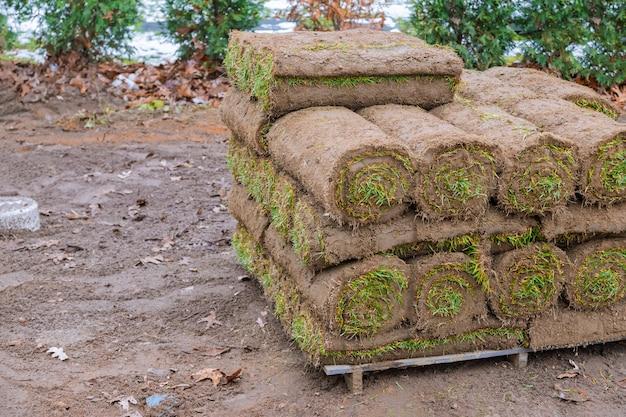 As modernas tecnologias de plantio de gramado em paisagismo rolam close-up,