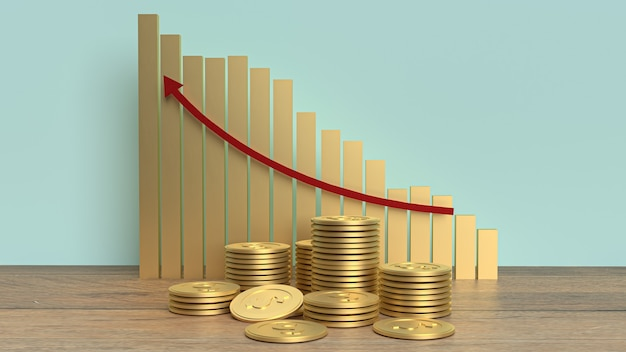 As moedas de ouro e a seta do gráfico para cima para conteúdo de negócios
