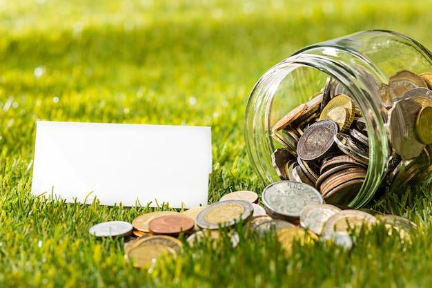As moedas no frasco de vidro por dinheiro na grama verde