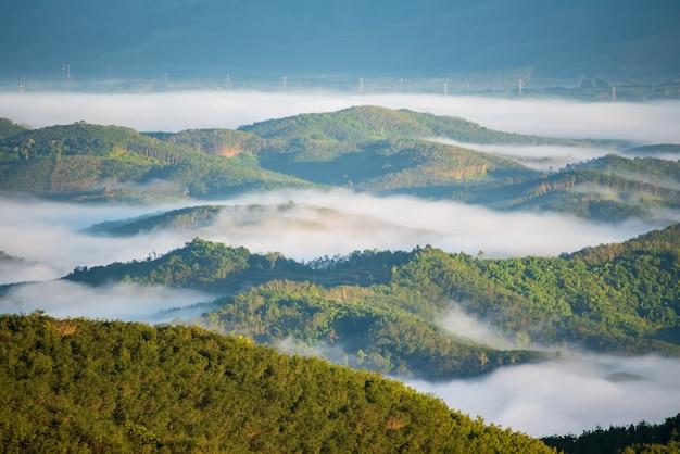 As montanhas e a névoa da manhã são lindas em torno da floresta tropical na tailândia.