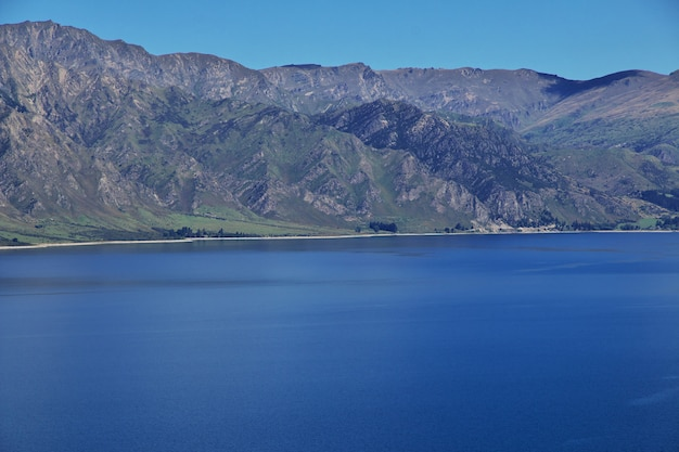 As montanhas e o vale da ilha sul, nova zelândia
