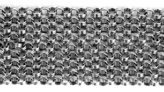 As muitas gamas de correntes de prata em fundo branco