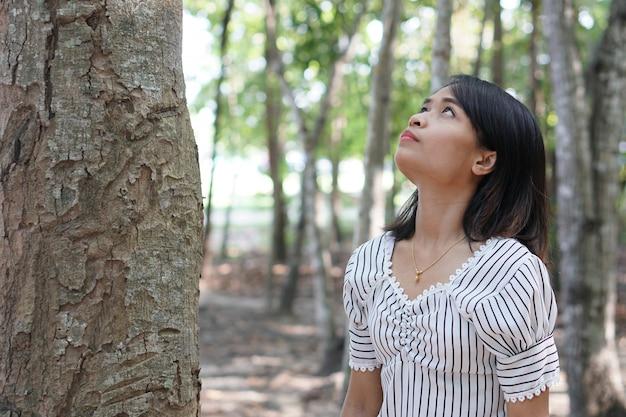 As mulheres asiáticas exploram árvores, amam o conceito do mundo