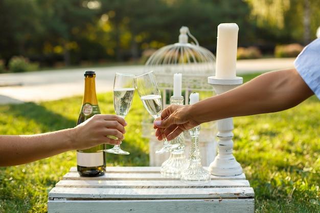 As mulheres elogiam vidros com champanhe no parque verde ensolarado.