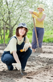 As mulheres trabalham no jardim na primavera