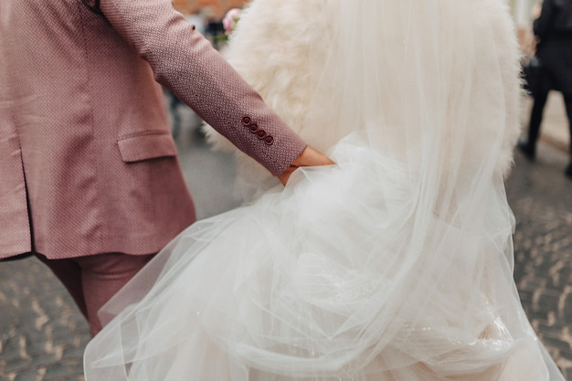 As noivas estão caminhando juntas, um dia de casamento festivo