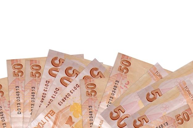 As notas de liras turcas encontram-se na parte inferior da tela, isoladas em branco