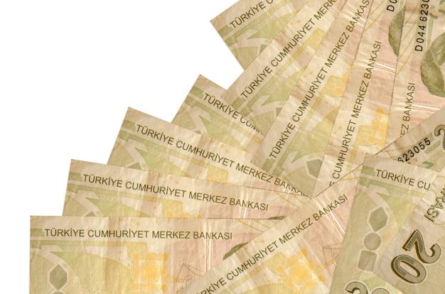 As notas de liras turcas estão em ordem diferente, isoladas no branco