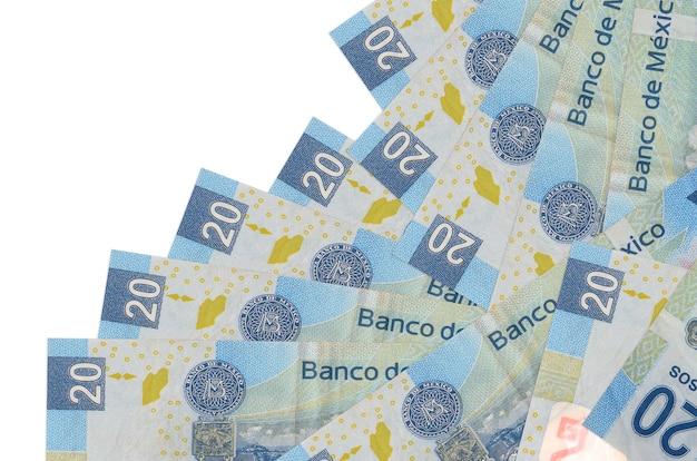 As notas de pesos mexicanos estão em ordem diferente, isoladas no branco