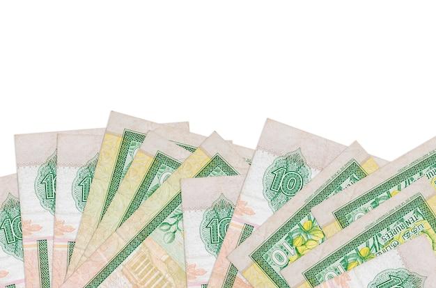 As notas de rupias do sri lanka encontram-se na parte inferior da tela, isoladas no fundo branco