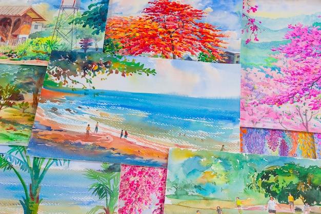 As obras de arte das pinturas em aquarela de uma fotografia incluindo memórias.