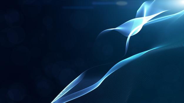 As partículas digitais da cor azul abstrata acenam com bokeh e luz de fundo