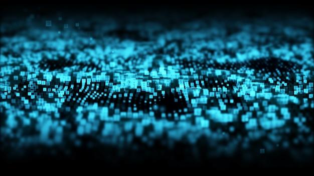 As partículas digitais da cor azul abstrata acenam com fundo da poeira e dos números