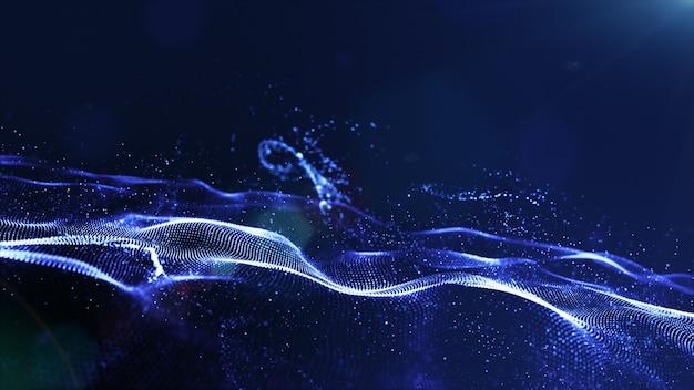 As partículas digitais da cor azul abstrata acenam com poeira e luz de fundo
