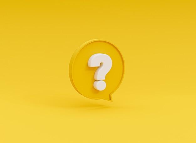 As perguntas brancas marcam a ilustração dentro do balão amarelo sobre fundo amarelo para perguntas frequentes e tempo de perguntas e respostas por renderização em 3d.